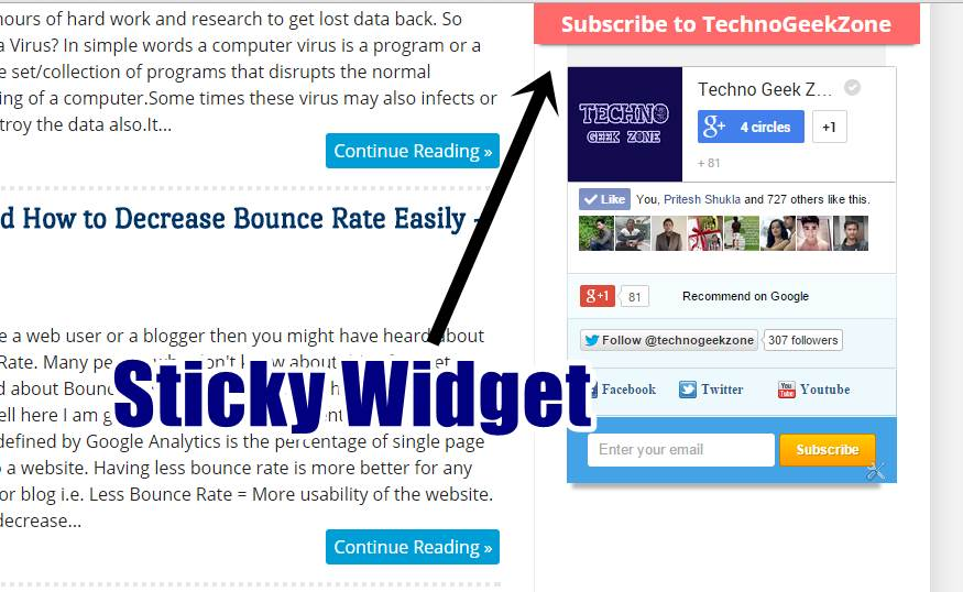How To Make Any Widget Sticky In Your Website or Blog