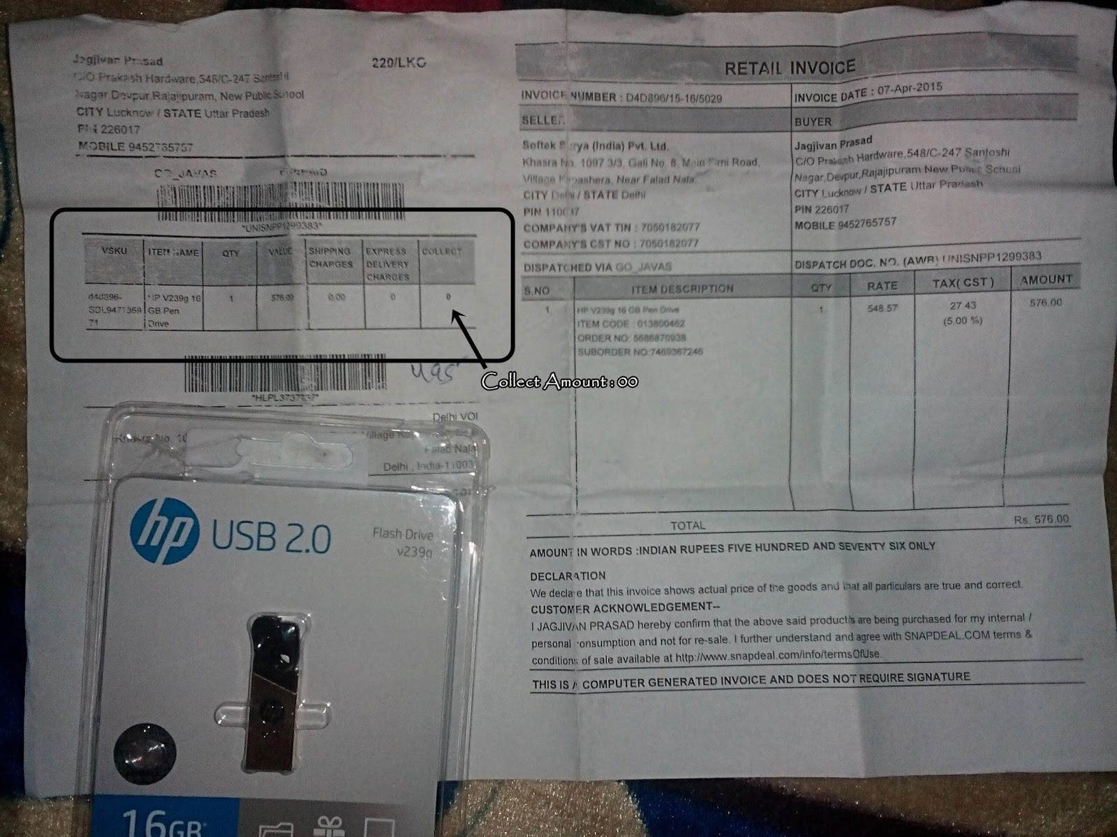 How To Get 16 GB Pendrive For Free From Snapdeal(With Proof) - [Offer Ended]