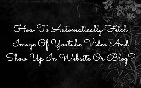 How To Automatically Fetch Image Of Youtube Video And Show Up In Website Or Blog? - [Solved]