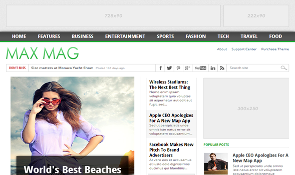 MaxMag Wordpress Adapted Responsive Blogger Template | Templateism